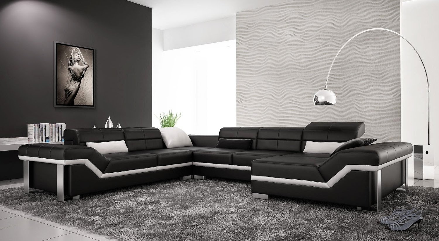 Black and white modern living room furniture for Modern black and white furniture