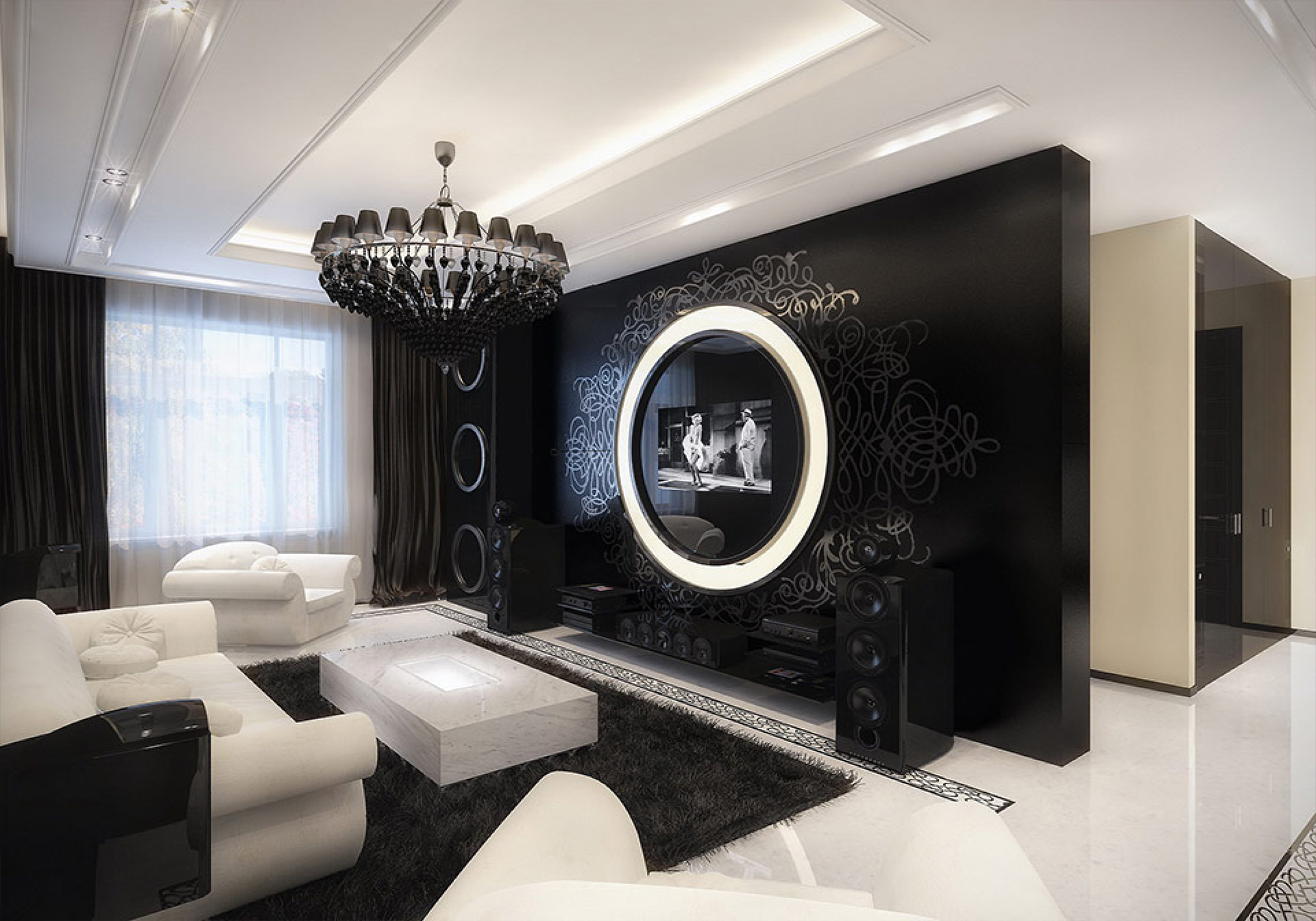 Best of Black and White Modern Living Rooms (7) black and white modern living rooms Best of: Black and White Modern Living Rooms Best of Black and White Modern Living Rooms 7
