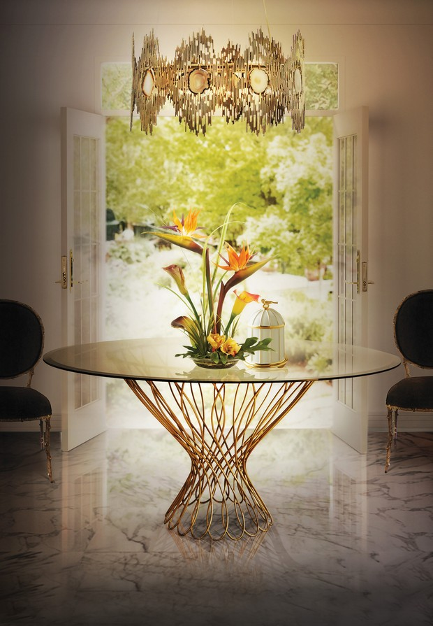best dining room tables for your home - 10 inspirational images best dining room tables best dining room tables for your home – 10 inspirational images Room Decor Ideas Room Ideas 2016 Trends for Home Interiors Precious Materials Gold Luxury Furniture Luxury Interior Design Allure Dining Table Vivre Chandelier KOKET