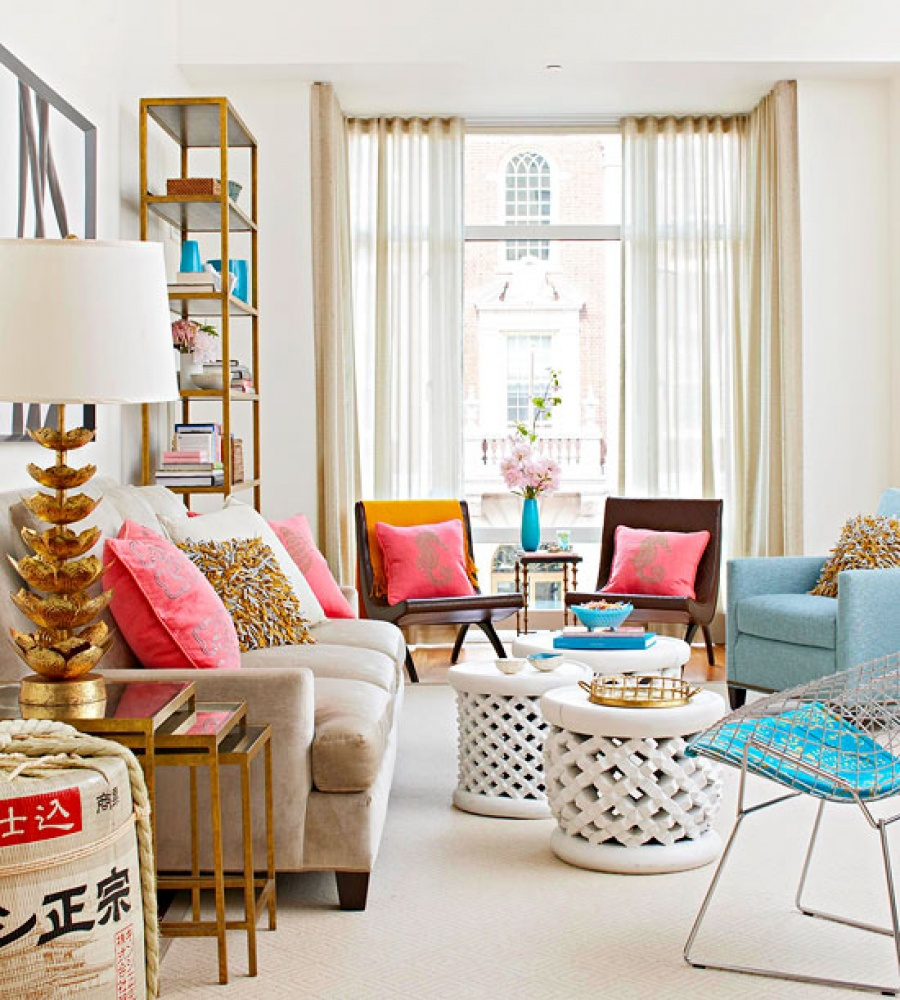 Spring decorating ideas for your living room design for Colorful living room sets