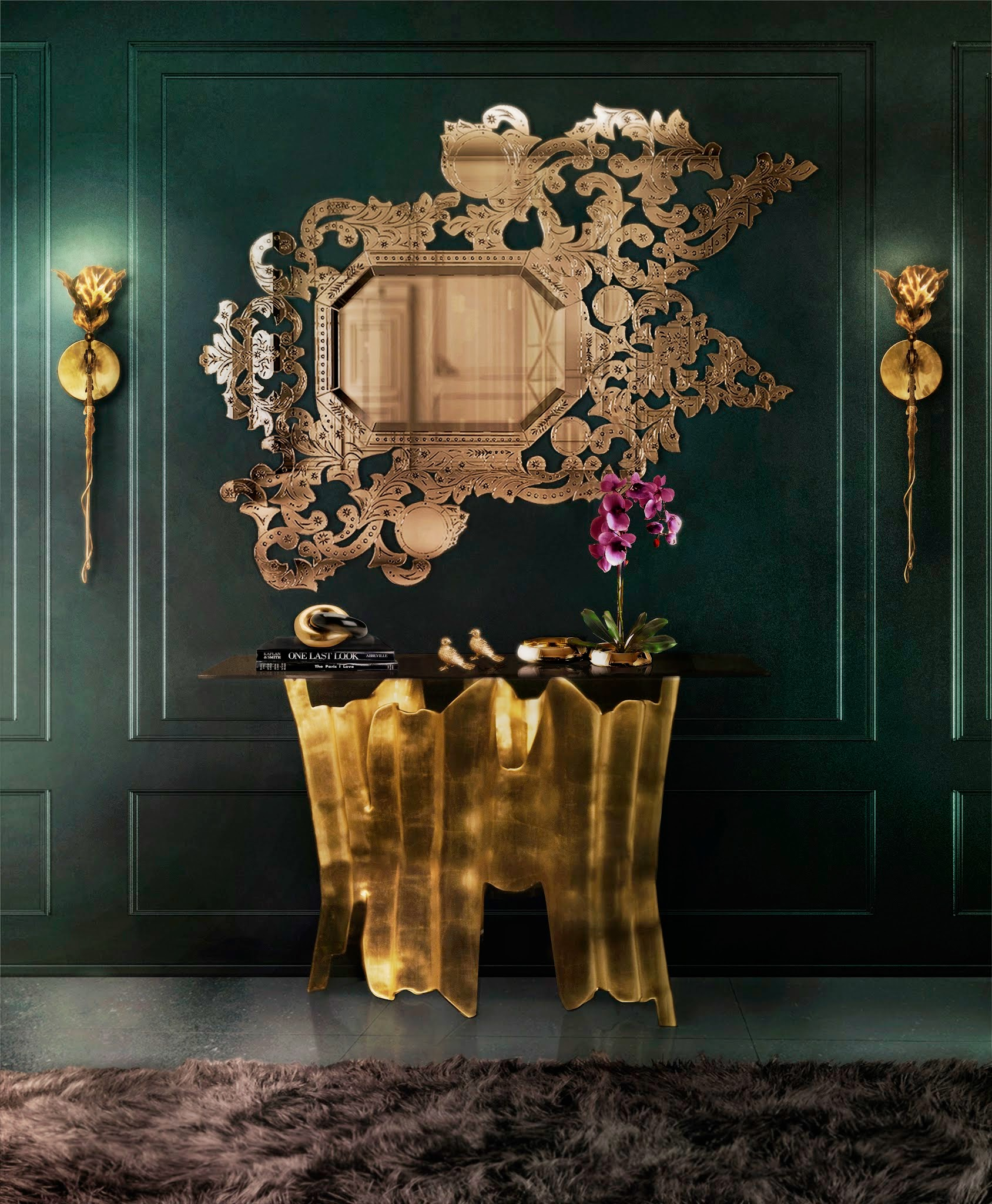 addicta-mirror-obssedia-console-flora-sconce-koket-projects elegant sconces Elegant Sconces for your Living Room Design addicta mirror obssedia console flora sconce koket projects