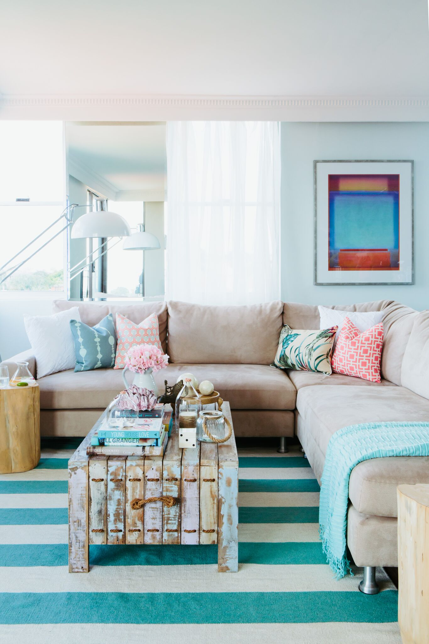 Aqua Themed Living Room