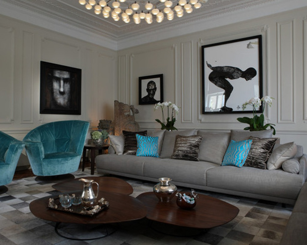 10 ideas for decorate your living room with turquoise accents