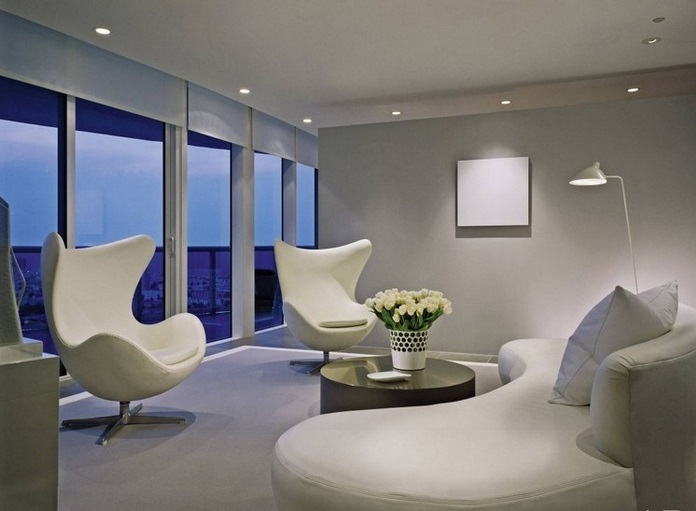 All white living room design ideas for Downlight design living room