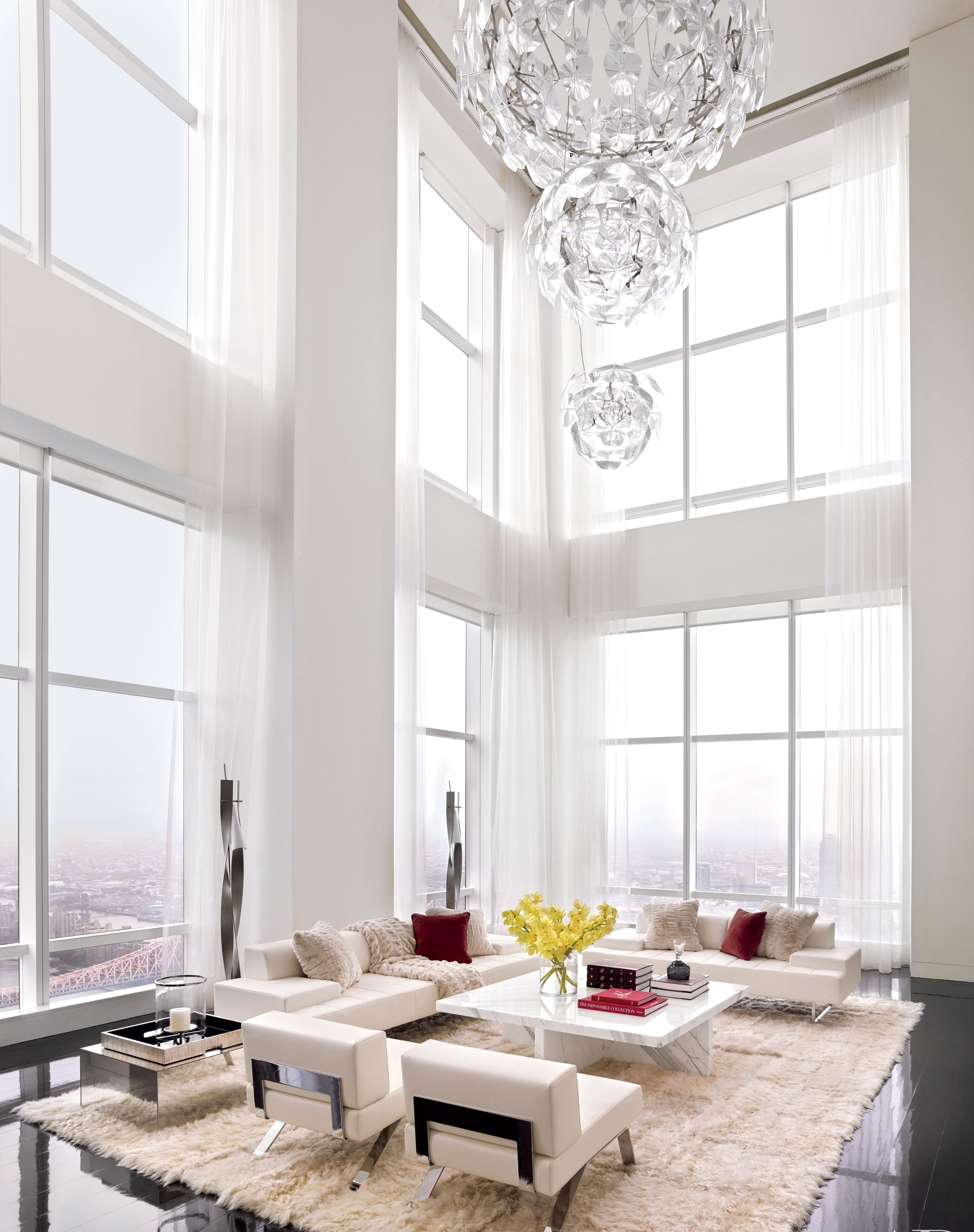 All white living room design ideas for Modern apartment living room