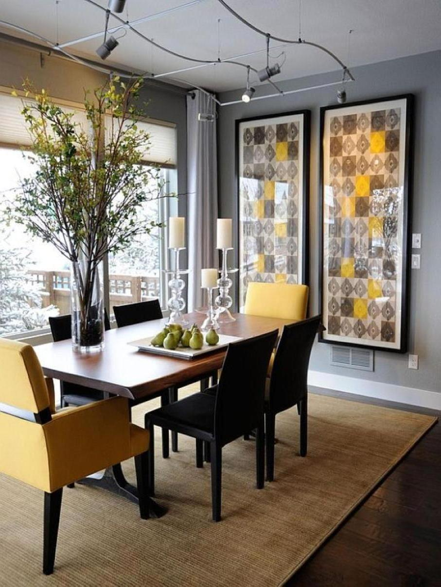 Sophisticated Dining Room Ideas For Your Home Design dining room ideas Sophisticated Dining Room Ideas For Your Home Design Interesting Wall Design for Dining Room with black white and yellow checkered patterns and black frame on gray wall