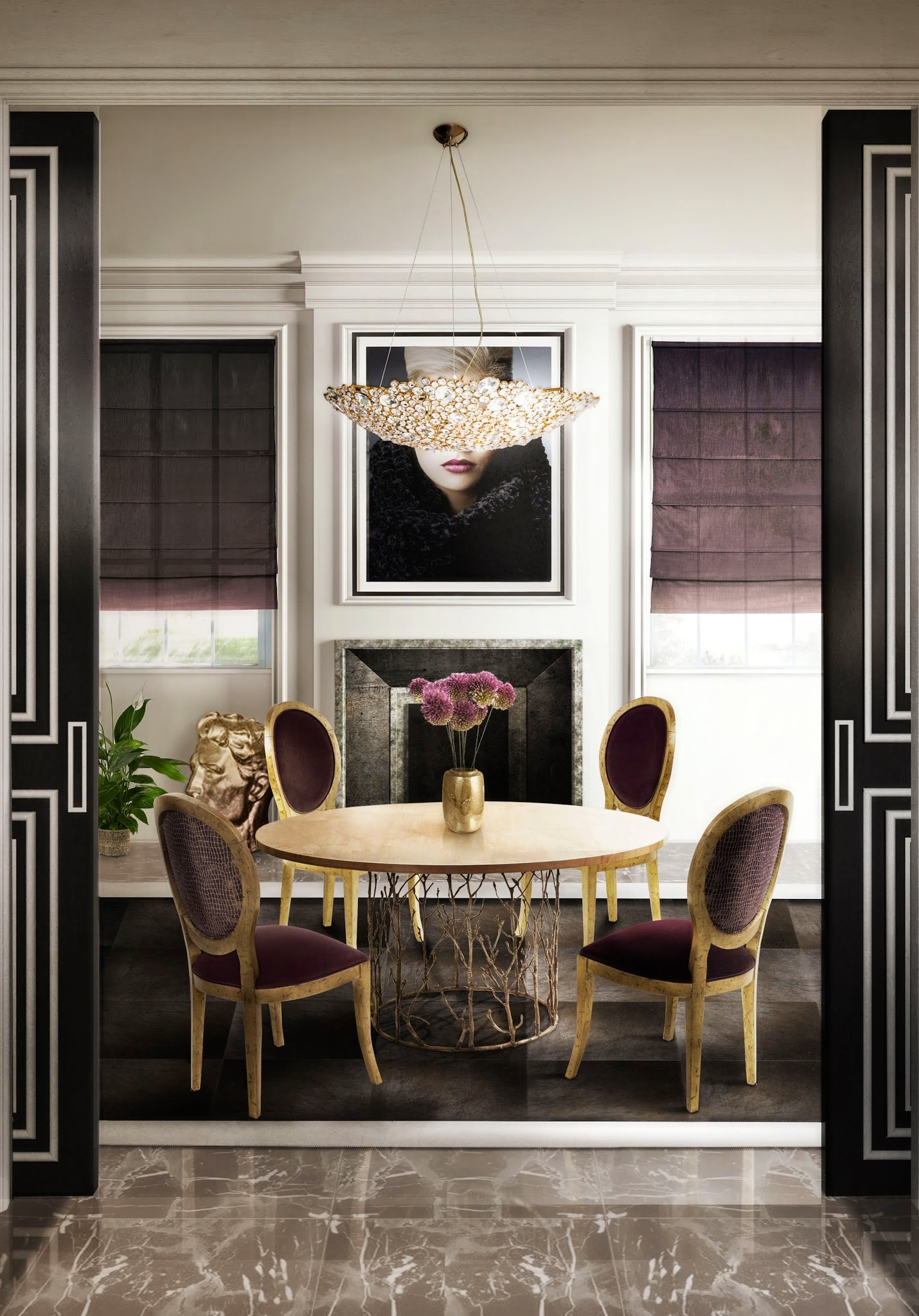 enchanted-dining-table-eternity-chandelier-diamantra-dining-chair-koket-projects design pieces 10 Gorgeous Design Pieces to Create the Perfect Dining Room enchanted dining table eternity chandelier diamantra dining chair koket projects