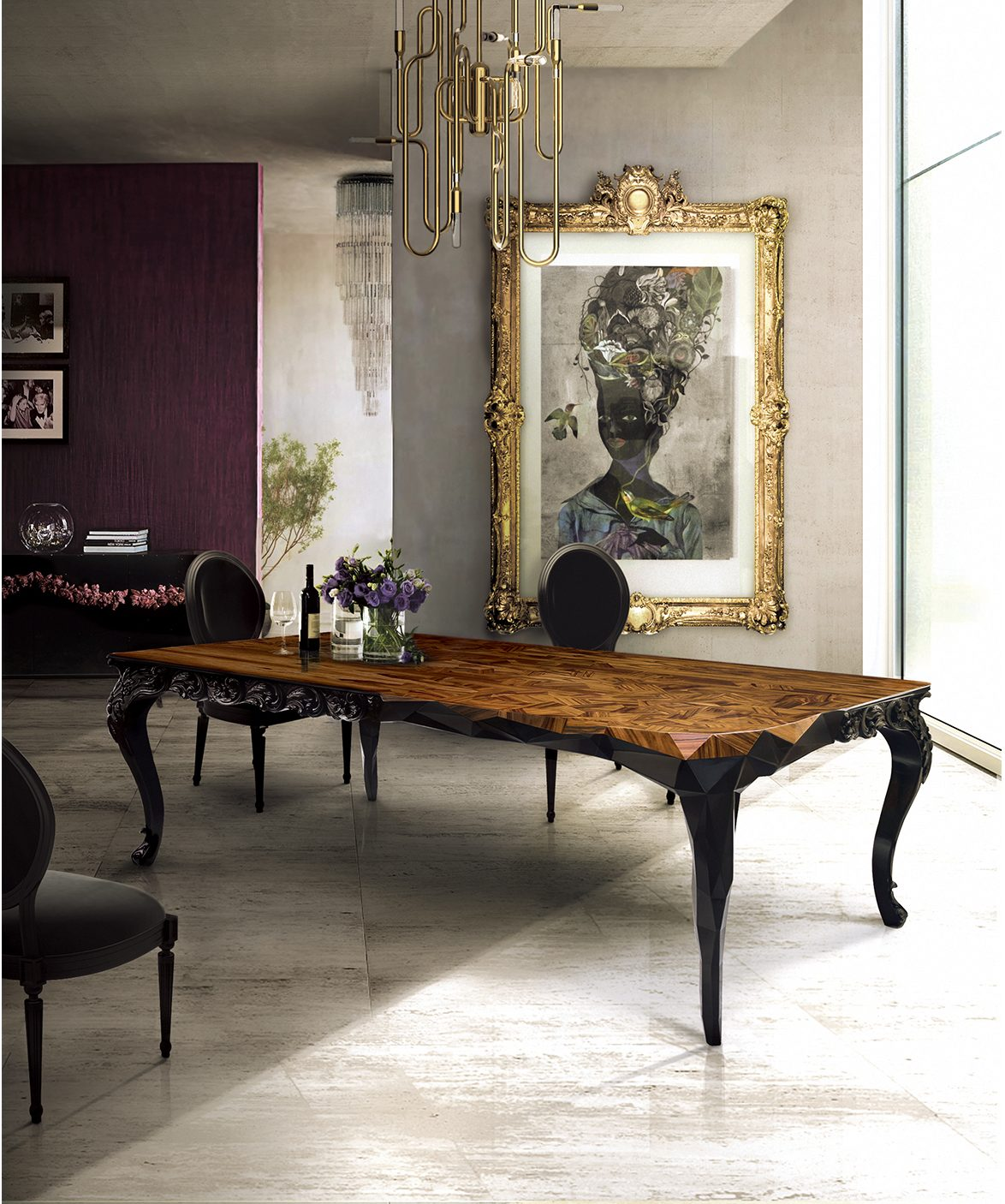 Boca do Lobo  fall decor The Best Fall Decor to improve your Dining Room Designs Top 10 Black Dining Rooms that will Delight You10 e1472635766643