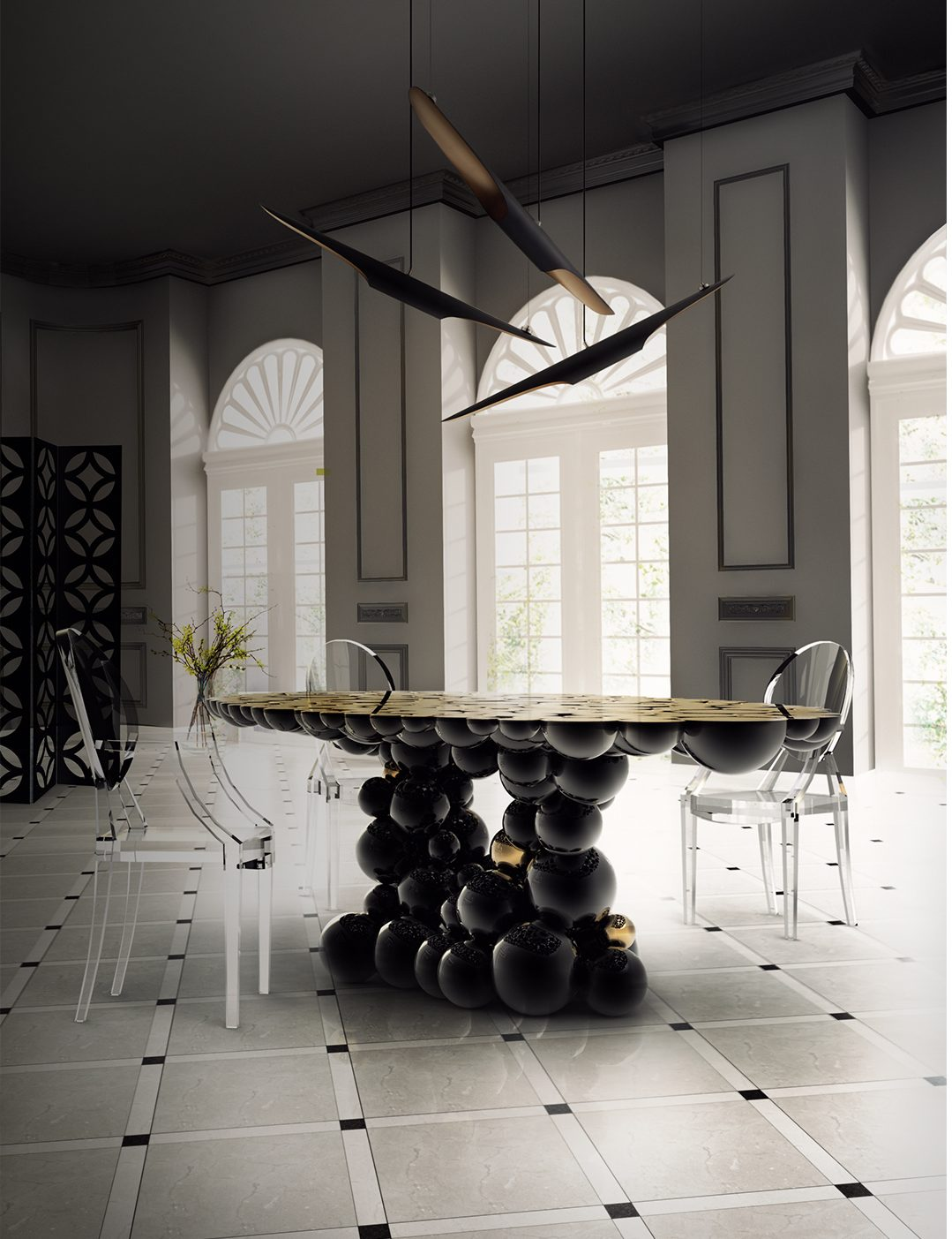 Boca do Lobo  fall decor The Best Fall Decor to improve your Dining Room Designs Top 10 Black Dining Rooms that will Delight You9 e1472635372743