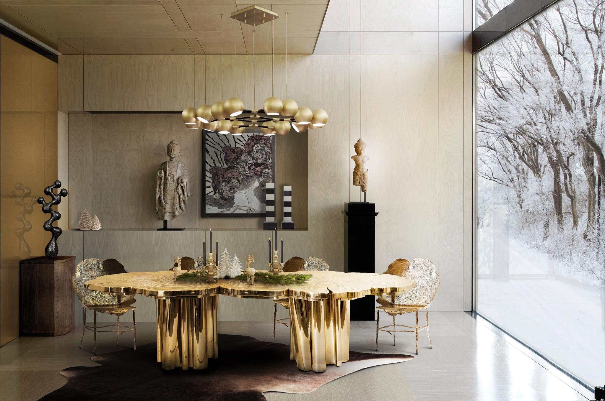 The best black and gold decorating ideas for your dining room for Luxury home design magazine