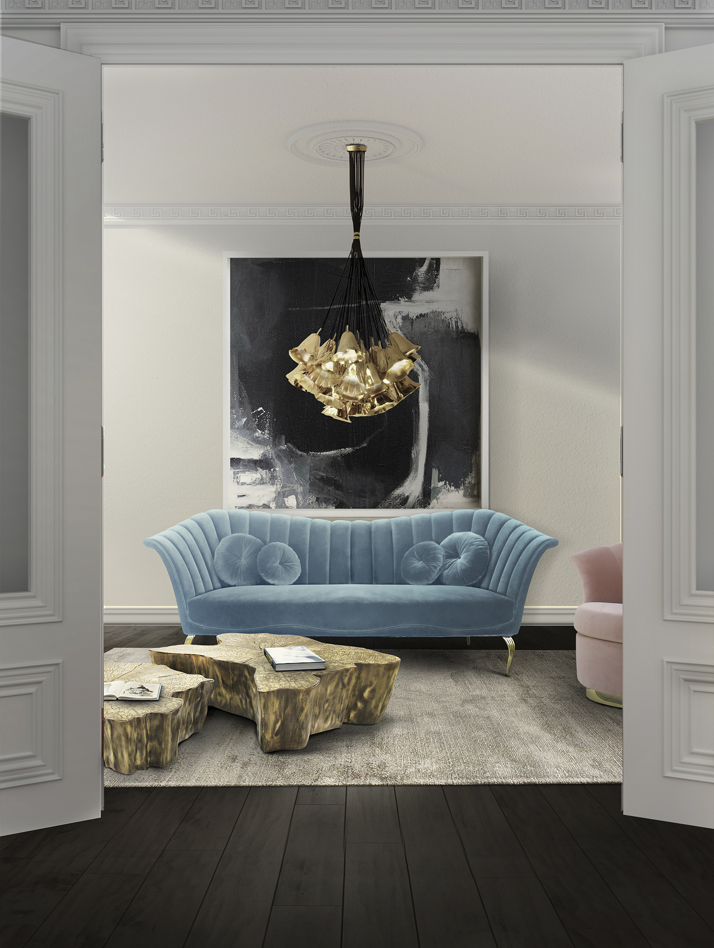 Caprichosa sofa and Gia chandelier KOKET Spring 2017 Living Room Décor Trends to use on Spring 2017 10 Living Room D  cor Trends to use on Spring 20176