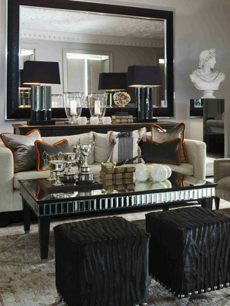 The most beautiful wall mirror designs for your living room for Mirror decoration ideas for living room
