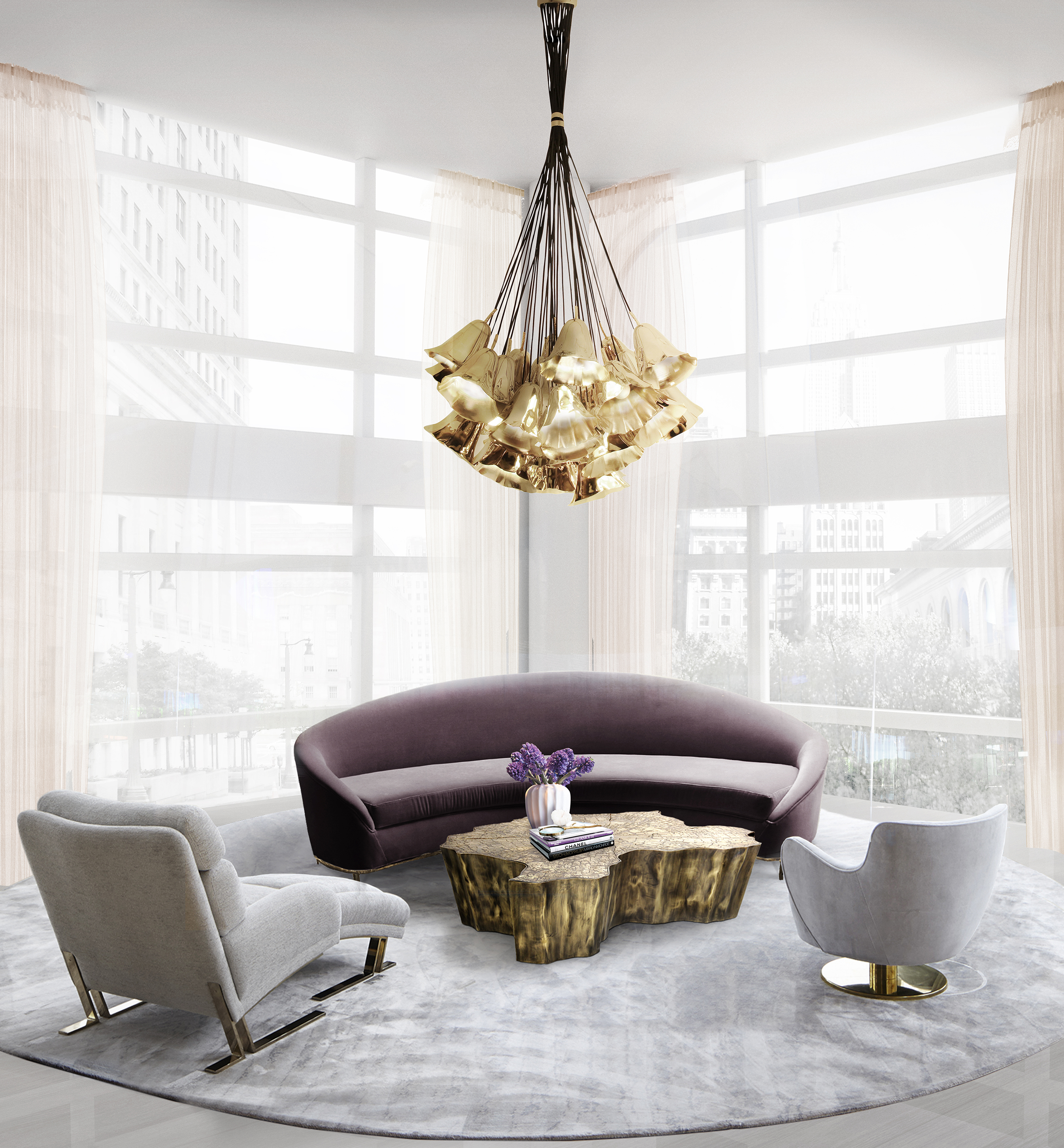 koket vamp sofa gia chandelier living room design 8 decorating ideas to improve your living - Chandelier Living Room Ideas