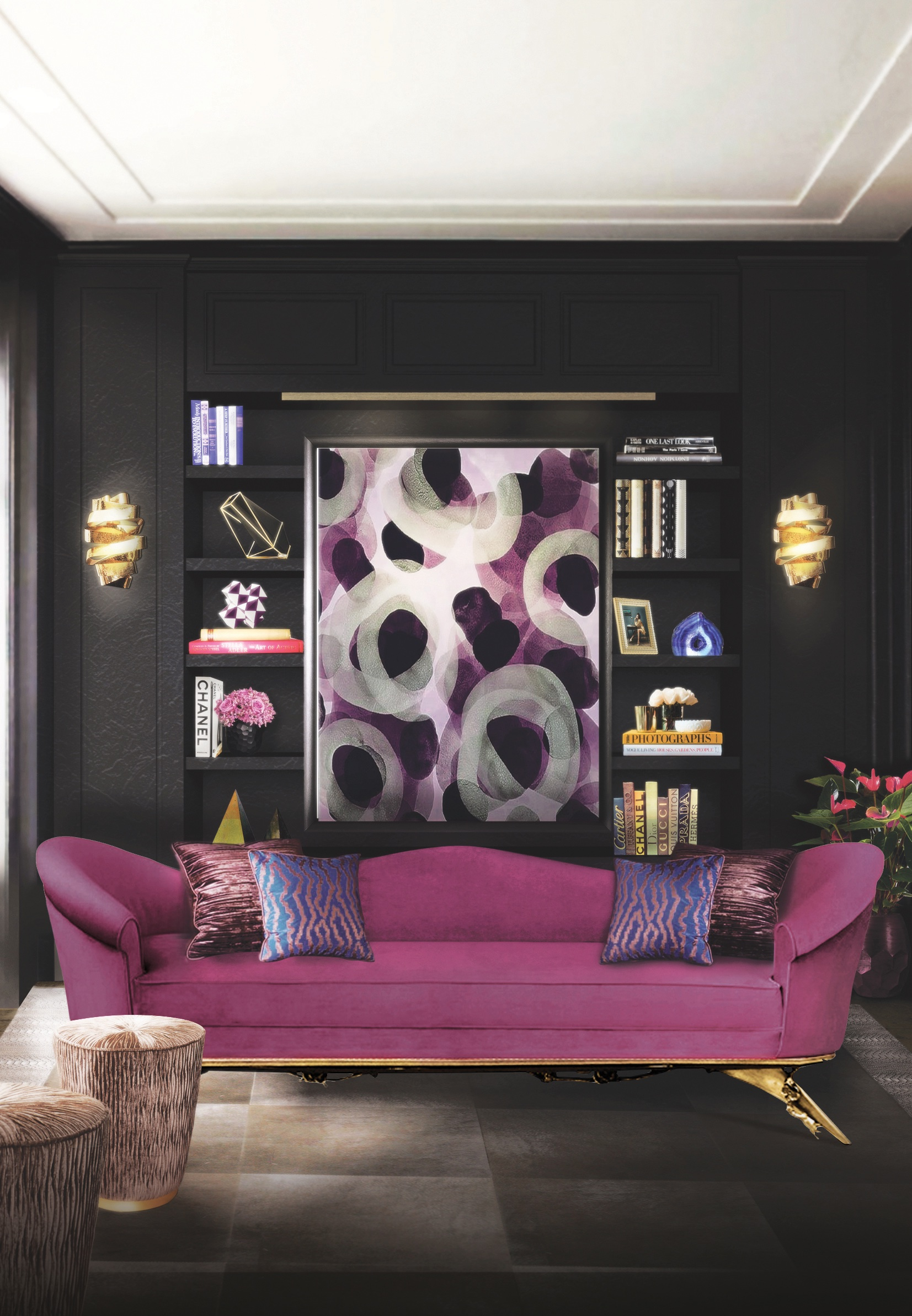 Colourful Sofas for your Living Room colourful sofas Colourful Sofas for your Living Room colette sofa tresor stool chloe sconce blackcobra rug koket projects