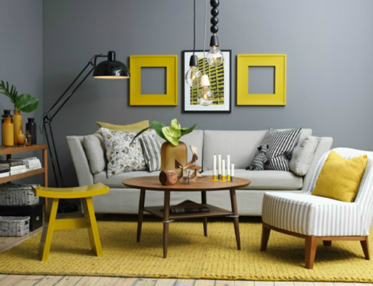 summer trends Find the 2018 Summer Trends For Your Living Room idee couleur salon gris jaune deco