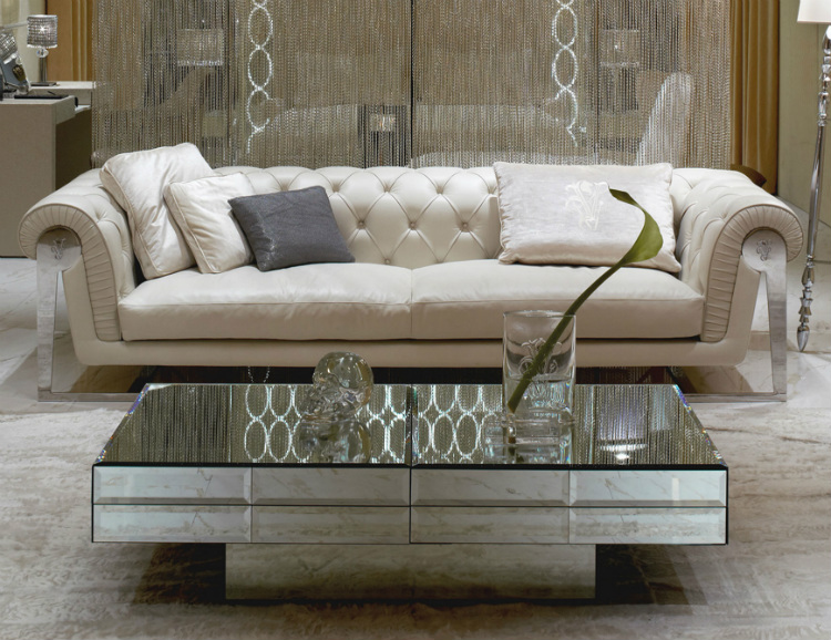 2019 interior design trends 2019 Interior Design Trends to Turn a Space in a Sensorial Experience mirrored coffee table and end tables mirrored coffee tables for sale