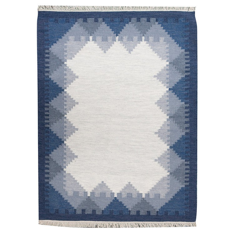 contemporary rugs The Most Dazzling Contemporary Rugs for Your Living Room Decor Ronnie Handmade Kilim Wool Blue Rug by Alpen Home